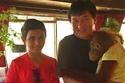 راشد مع مع جاكي شان وأحد حيوان الأندانغوتان