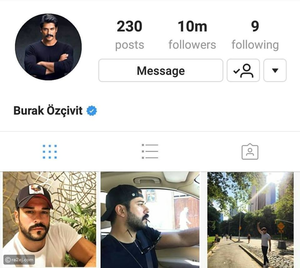 وصل عدد متابعي بوراك إلى 10 ملايين على الانستغرام