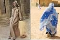 """لمغرب: في جنوبه يرتدون """"الملحفة"""" وهي عبارة عن قطعة ثوب طولها نحو 4 أمتار، وهي ملونة بألوان مزركشة وترتديها المرأة في مختلف فصول السنة، وتشتهر المغرب أيضاً بالعباية ذات القبعة التي تضعها المرأة والتي تتميز بها عن كل العربيات."""