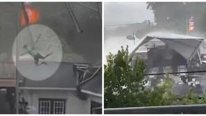 فيديو مرعب.. عاصفة قوية تطيح بمطعم وعامل بين السماء والأرض!