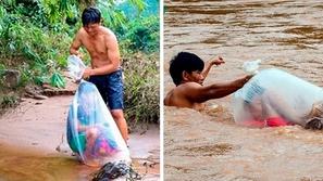 فيديو وصور: يعبرون النهر في أكياس بلاستيكية للوصول إلى المدرسة كل يوم!