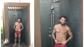محمد صلاح يستفز متابعيه بصورة غريبة تحت دش الاستحمام