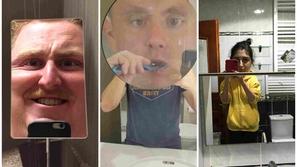 صور مضحكة لأكثر مرايا الحمام غرابة.. هكذا تظهر من يقف أمامها 😂