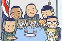 كاريكاتير يضم ضباط البحرية والقطط