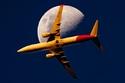 التقط مارستون هذه الصورة لطائرة كانتاس بوينج 737 فوق بريسبان.