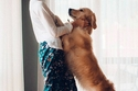 فتاة مع كلبها