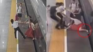فيديو وصور: شابة متهورة حاولت إيقاف قطار سريع بقدمها.. لن تتوقع السبب!