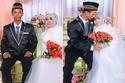 الشاب والسيدة في حفل الزفاف