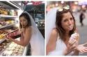 صور: للحصول على عريس.. فتاة تعيش يومها وتسافر بفستان الزفاف