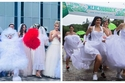 فيديو وصور: سباق العرائس.. 30 فتاة يركضن بفستان الزفاف والسر