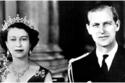 صورة بالأبيض والأسود للأمير فيليب وملكة بريطانيا