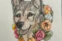 كلب يرتدى طوق من الورد