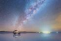 مشهد ذراع المجرة في صحراء الملح البوليفية