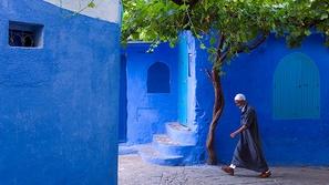 ماسر هذه المدينة القديمة في المغرب ، جدرانها مطلية باللون الأزرق ؟