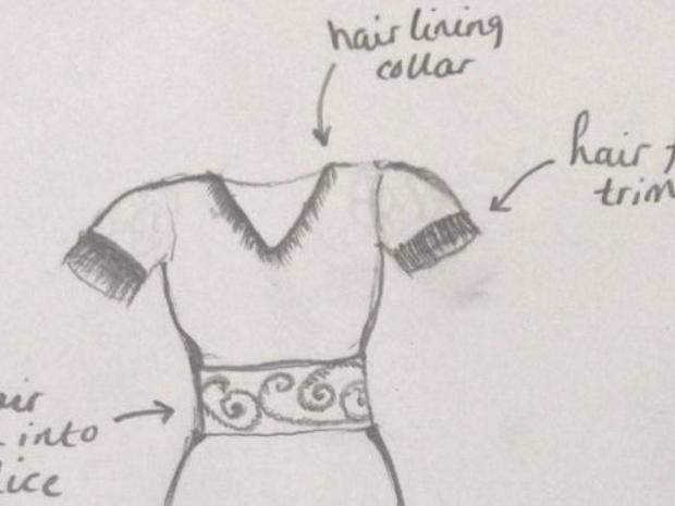 تصميم فستان من شعر سيدة متوفاة