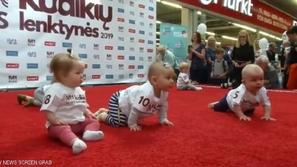 فيديو: سباق شرس بين أطفال رُضّع يتنافسون في مهارات الحبو