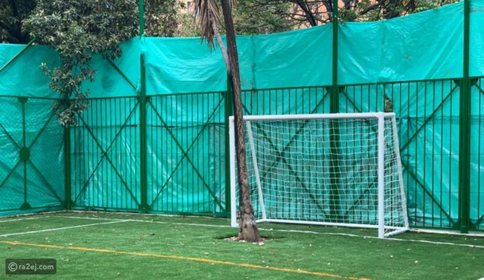 في هذا الملعب الأشجار تحل مكان حراس المرمى في مباريات كرة القدم