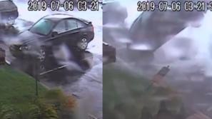 فيديو: سيارة تطير فوق الأرض وتنقلب على نفسها