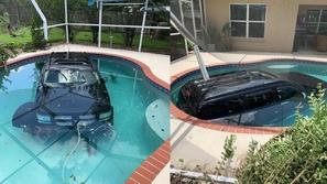 صور: سيارة رباعية الدفع تغرق في قلب حمام سباحة.. كأنها مظهر طبيعي