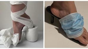 في زمن كورونا: فتاة تصنع أحذية بالكمامة وأوراق المناديل