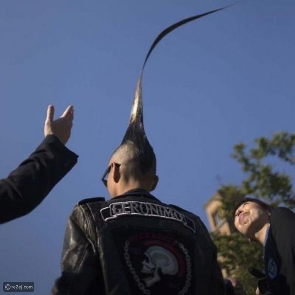 صور: رجل ياباني يدخل موسوعة جينيس بسبب ارتفاع شعره