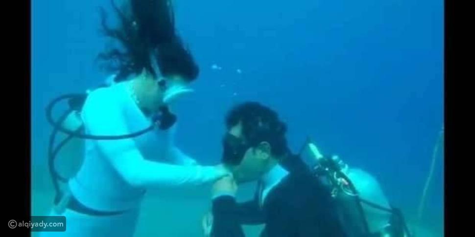 شاهد: حفل زفاف مصري تحت الماء في مدينة دهب: ملابس العروسين كانت مختلفة