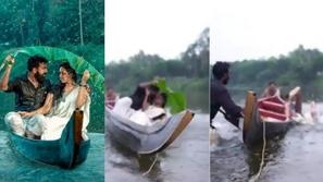 المصور طلب منه تقبيل عروسته..جلسة تصوير في قارب نهري تنتهي بضحك هستيري