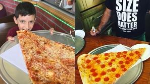 فيديو أكبر مثلث بيتزا يمكن أن تراه في حياتك بقيمة 10 دولار في نيويورك